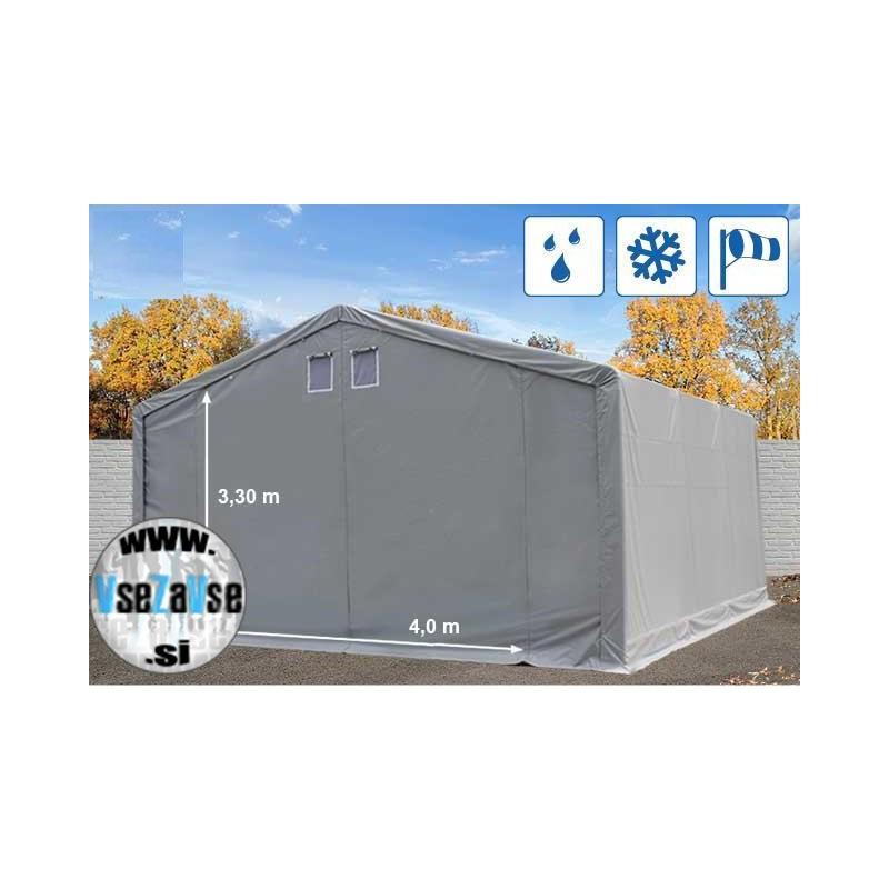 XL skladiščni šotor PVC širina 6m, dolžina od 6m do 28m / vrata 4 x 3.3m, 550 g/m² siva