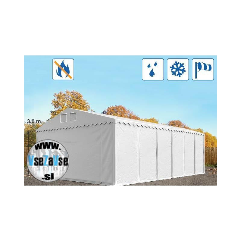 XL skladiščni šotori PVC / negorljivo / širina 8m / višina 3m / dolžina od 12m do 24m