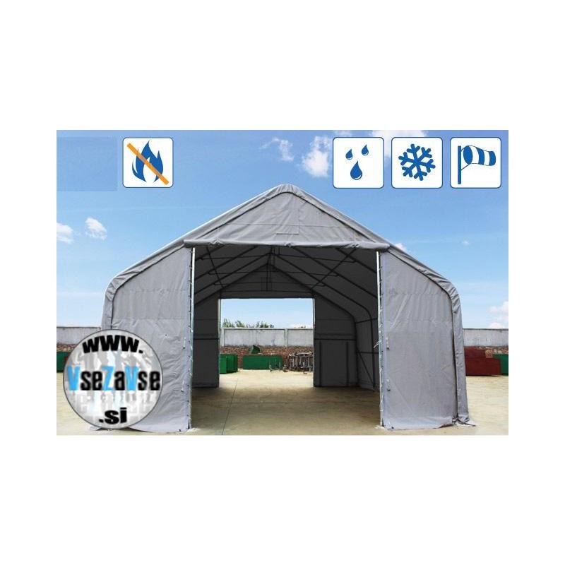 XL skladiščni šotor PVC širina 10x (12,20)m vrata 4x4 m, ognjevarno 720 g / m² siva