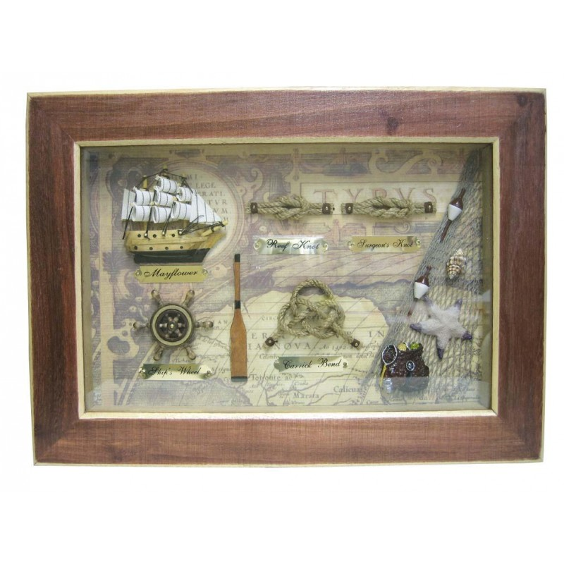 Zastekljena slika z morskimi motivi