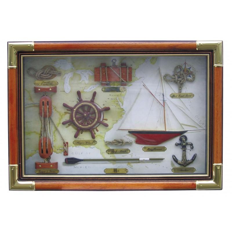 Zasteklena slika z morskimi motivi